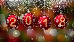 Hanging 2018 number glitter Christmas balls on gold bokeh background. 4K stock video