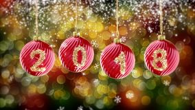 Hanging 2018 number glitter Christmas balls on gold bokeh background. stock illustration