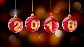 Hanging 2018 number glitter Christmas balls on gold bokeh background. royalty free illustration
