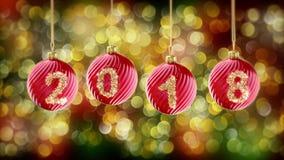 Hanging 2018 number glitter Christmas balls on gold bokeh background. 4K stock illustration