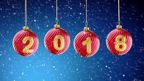 Hanging 2018 number glitter Christmas balls on snow blue background. 3d rendering Royalty Free Stock Image