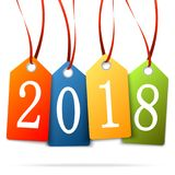 Hanging numbers new year 2018. Colored hang tags with numbers 2018 for New Year greetings Stock Photo