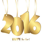 Hanging numbers new year 2016. Gold colored hang tag numbers for New Year 2016 Stock Photography