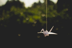Hanging Origami Crane Stock Photography