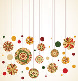 Hanging Ornaments. Hanging floral ornaments in holiday colors, room for text at top Royalty Free Stock Photography