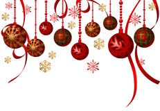Hanging Ornaments. Christmas background with hanging ornaments Royalty Free Stock Image