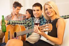 Hanging Out With Acoustic Guitar Royalty Free Stock Photo