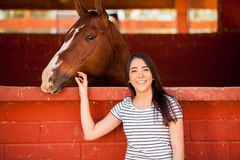 Hanging out with my horse Stock Photos