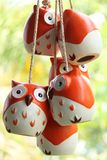 Hanging Owl. Orange owl made from ceramic Royalty Free Stock Photography