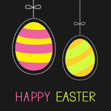 Hanging painted easter eggs with dash line and bow Royalty Free Stock Images