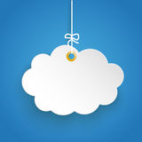 Hanging Paper Cloud Striped Blue Sky. Paper cloud on the blue background Stock Images