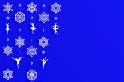 Hanging paper cut snowflake festive decorations background for Christmas with copy space for mock up Royalty Free Stock Image