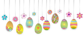Hanging paper Easter eggs and flowers Stock Image