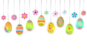 Hanging paper Easter eggs and flowers Stock Images