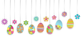 Hanging paper Easter eggs and flowers Royalty Free Stock Images