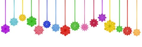Hanging paper flowers. Set of colorful paper flowers with shadows, hanging on ropes vector illustration