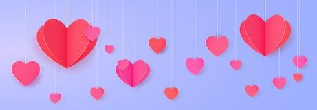 Bright love festoon. Hanging paper heart banner. Bright love festoon Royalty Free Stock Images
