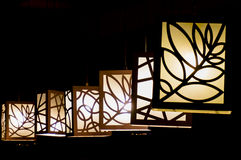 Hanging paper lamps. With patterns on them in Delhi India Royalty Free Stock Image