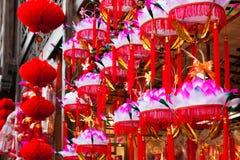 Hanging paper lotus festival lanterns Stock Photo