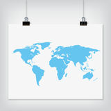 Hanging paper world map blue color sign with shadow. On grey background stock illustration