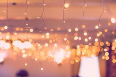 Hanging pastel string lights
