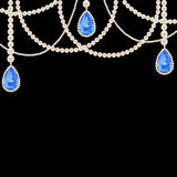 Hanging pearl necklace jewelry. With sapphire pendants on black background Stock Photography
