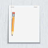 Hanging pencil by the paper sheet Stock Photo