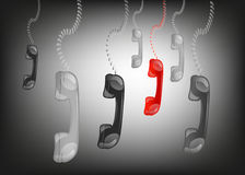Hanging phone handsets in black background,. Vector illustration Royalty Free Stock Photos