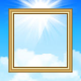 Hanging Picture on blue sky background Royalty Free Stock Image