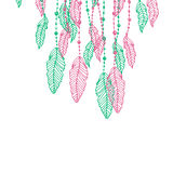Hanging pink and turquoise or blue stylized doodle feathers, isolated on white Stock Photography