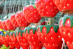 Hanging plant pots - pots strawberry hanging a long way. Stock Photos