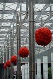 Hanging Poinsettia Balls stock photo