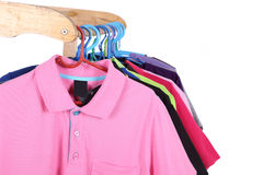 Hanging Polo shirt Stock Photo