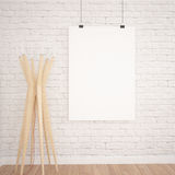 Hanging Poster Mock UP In Contemporary Exhibition Interior Space With Floor Lamp. White bricks and wooden floor planks. Perfect Background To Present Your Stock Images