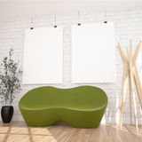 2 Hanging Posters Mock UP In Contemporary Exhibition Interior Space With Floor Lamp, Green Sofa And Plant. White bricks Wall, Wooden Floor Planks.Perfect Royalty Free Stock Photography