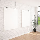 2 Hanging Posters Mock UP In Contemporary Exhibition Interior Space With Plant Pot. White bricks wall, industrial window and wooden floor planks. Perfect vector illustration