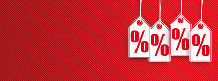 Hanging Price Stickers Sale Header Percents. Hanging price stickers with percents on the red striped background Stock Images