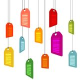 Hanging pricetags with barcodes Royalty Free Stock Photos