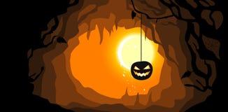 Hanging pumpkin. Halloween background. Stock Photos