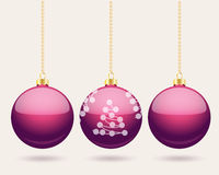 Hanging purple Christmas baubles background Royalty Free Stock Photography