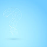 Hanging question mark wireframe object background Stock Photo