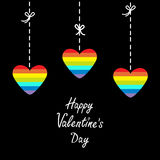 Hanging rainbow heart set.  Dash line with bows. Happy Valentines Day. Love card.  Flat design. Stock Images