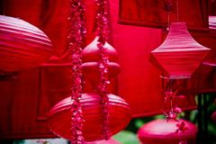 Hanging red asian lanterns and decor Stock Photography