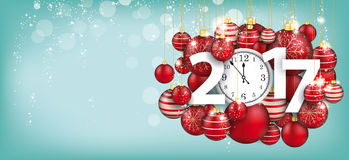 Hanging Red Baubles Christmas Clock 2017 Blue Header Royalty Free Stock Image