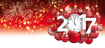Hanging Red Baubles Christmas Clock 2017 Header Fireworks. Red christmas card with hanging red baubles, fireworks, clock and date 2017 Stock Images