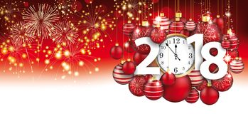 Hanging Red Baubles Christmas Clock 2018 Header Fireworks. Red christmas card with hanging red baubles, fireworks, clock and date 2018 Royalty Free Stock Photography