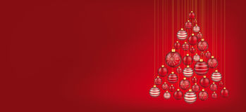 Hanging Red Baubles Christmas Tree Header Stock Photo