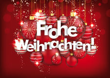 Hanging Red Baubles Frohe Weihnachten Red Background. German text Frohe Weihnachten, translate Merry Christmas Stock Images