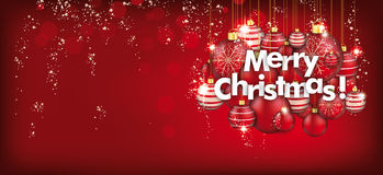 Hanging Red Baubles  Merry Christmas Header Stock Photography