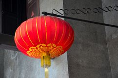Hanging red Chinese lantern with golden tassels Stock Photography